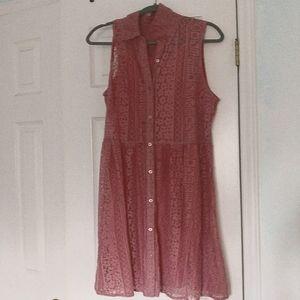 Pink Lace Button Down Dress